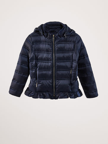 DOWN JACKET WITH RUFFLE DETAIL
