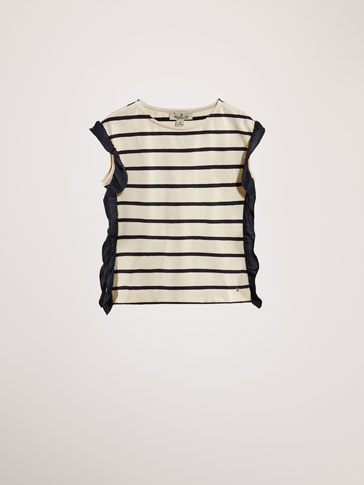 STRIPED CAPE-STYLE T-SHIRT