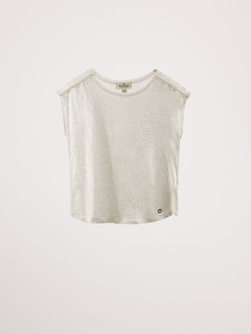LAMINATED LINEN T-SHIRT WITH PEARL BEADS