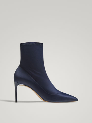 BLUE SATIN ANKLE BOOTS