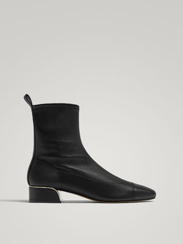 Black Nappa Leather Ankle Boots by Massimo Dutti