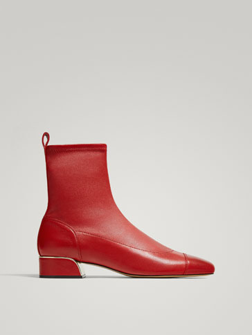 RED NAPPA LEATHER ANKLE BOOTS