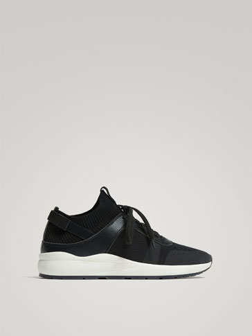 CONTRASTING BLACK LEATHER SNEAKERS