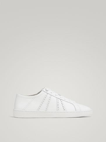 Weisse Sneaker Aus Nappaleder by Massimo Dutti