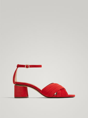 RED LEATHER QUILTED SANDALS