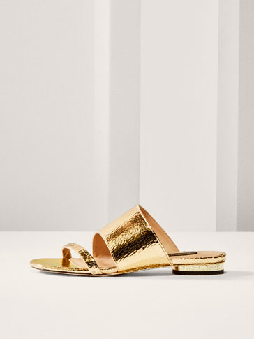LIMITED EDITION CRACKLED GOLD LEATHER SANDALS