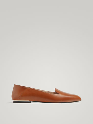 TAN NAPPA LEATHER SLIPPERS