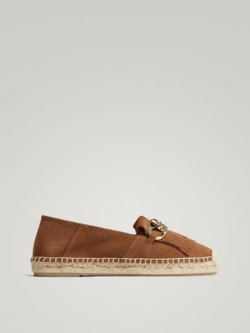 LEATHER-COLOUR SPLIT SUEDE JUTE ESPADRILLES