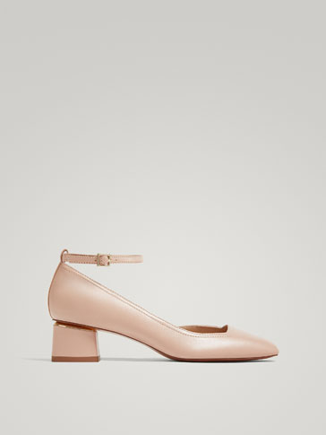 NUDE LEATHER HIGH HEEL COURT SHOES WITH ANKLE STRAPS