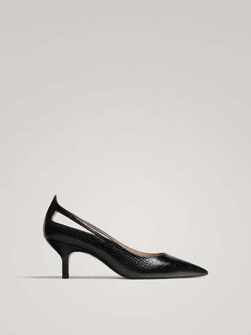 BLACK LEATHER HIGH HEEL COURT SHOES WITH EMBOSSED ANIMAL PRINT