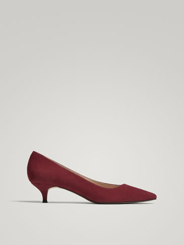BURGUNDY SUEDE LEATHER HIGH HEEL COURT SHOES