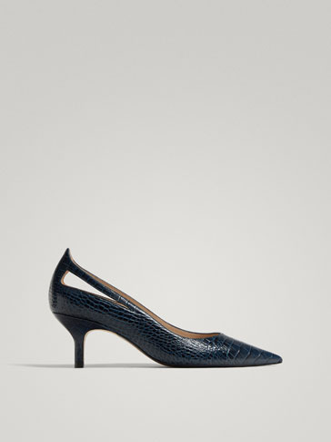 BLUE LEATHER HIGH HEEL COURT SHOES WITH EMBOSSED ANIMAL PRINT
