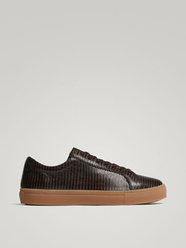 BROWN MOCK CROC LEATHER SNEAKERS