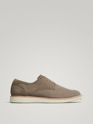 TAUPE SPLIT SUEDE LEATHER CASUAL SHOES