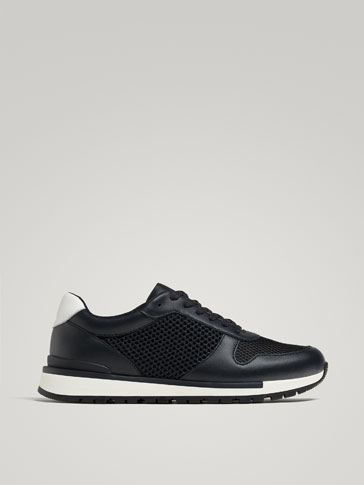 SOFT COLLECTION COMBINED LEATHER AND MESH SNEAKERS