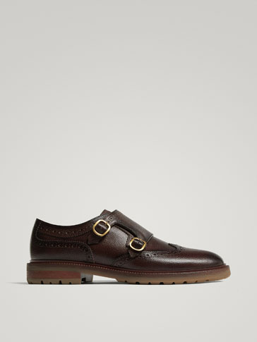 BROWN EMBOSSED LEATHER DOUBLE MONK STRAP SHOES