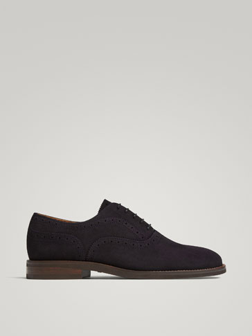 BLUE SPLIT SUEDE LEATHER OXFORD SHOES