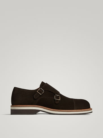 BROWN SPLIT SUEDE MONK SHOES