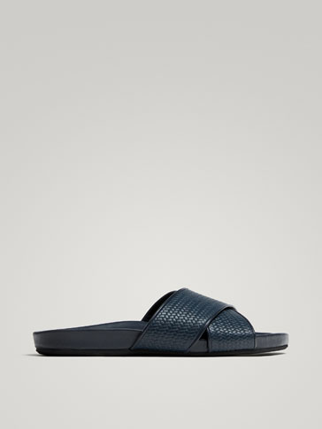 SOFT COLLECTION BLUE LEATHER HERRINGBONE SANDALS