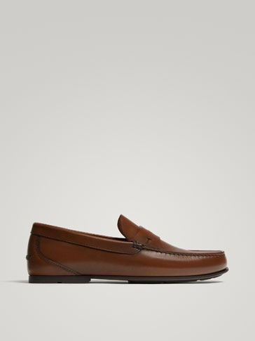 TAN NAPPA LEATHER LOAFERS