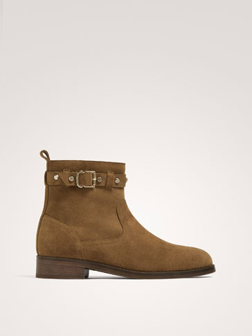 BROWN SPLIT SUEDE ANKLE BOOTS