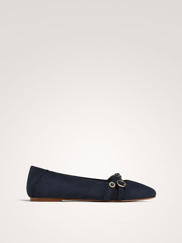 BLUE SPLIT SUEDE LEATHER BALLERINAS