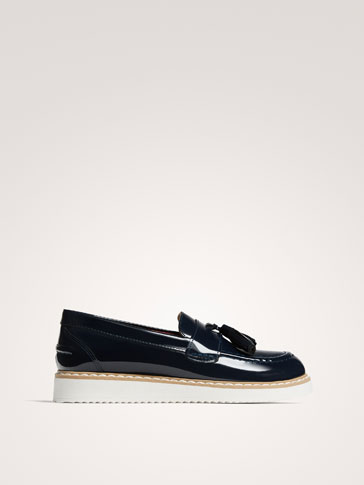 BLUE PATENT FINISH LEATHER LOAFERS