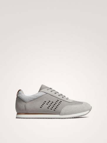 GREY LEATHER SNEAKERS