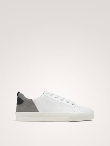 WHITE LEATHER PLIMSOLLS WITH HEEL DETAIL