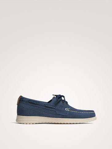 BLUE SPLIT SUEDE LEATHER DECK SHOES