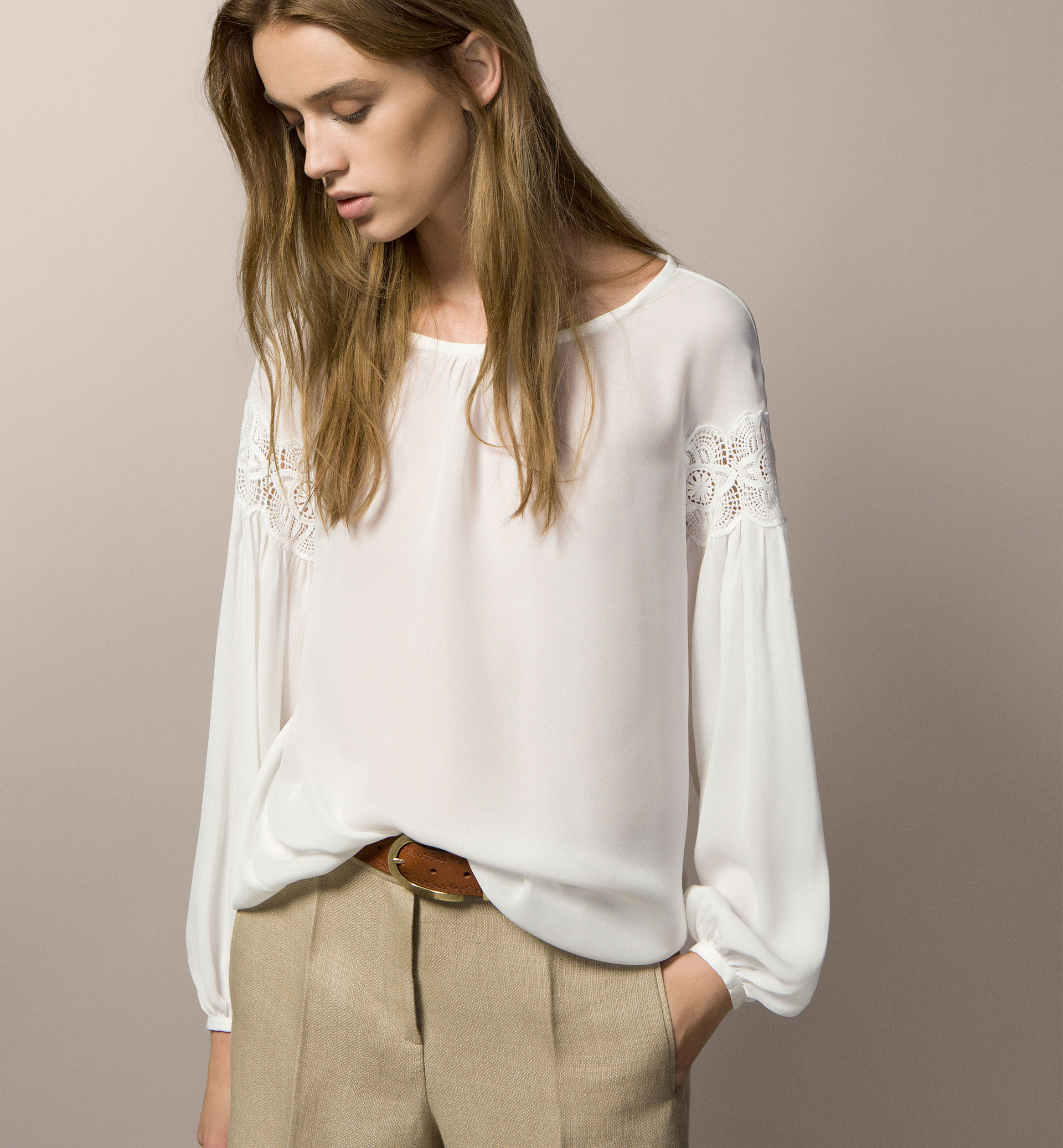 TOP WITH GUIPURE LACE DETAIL
