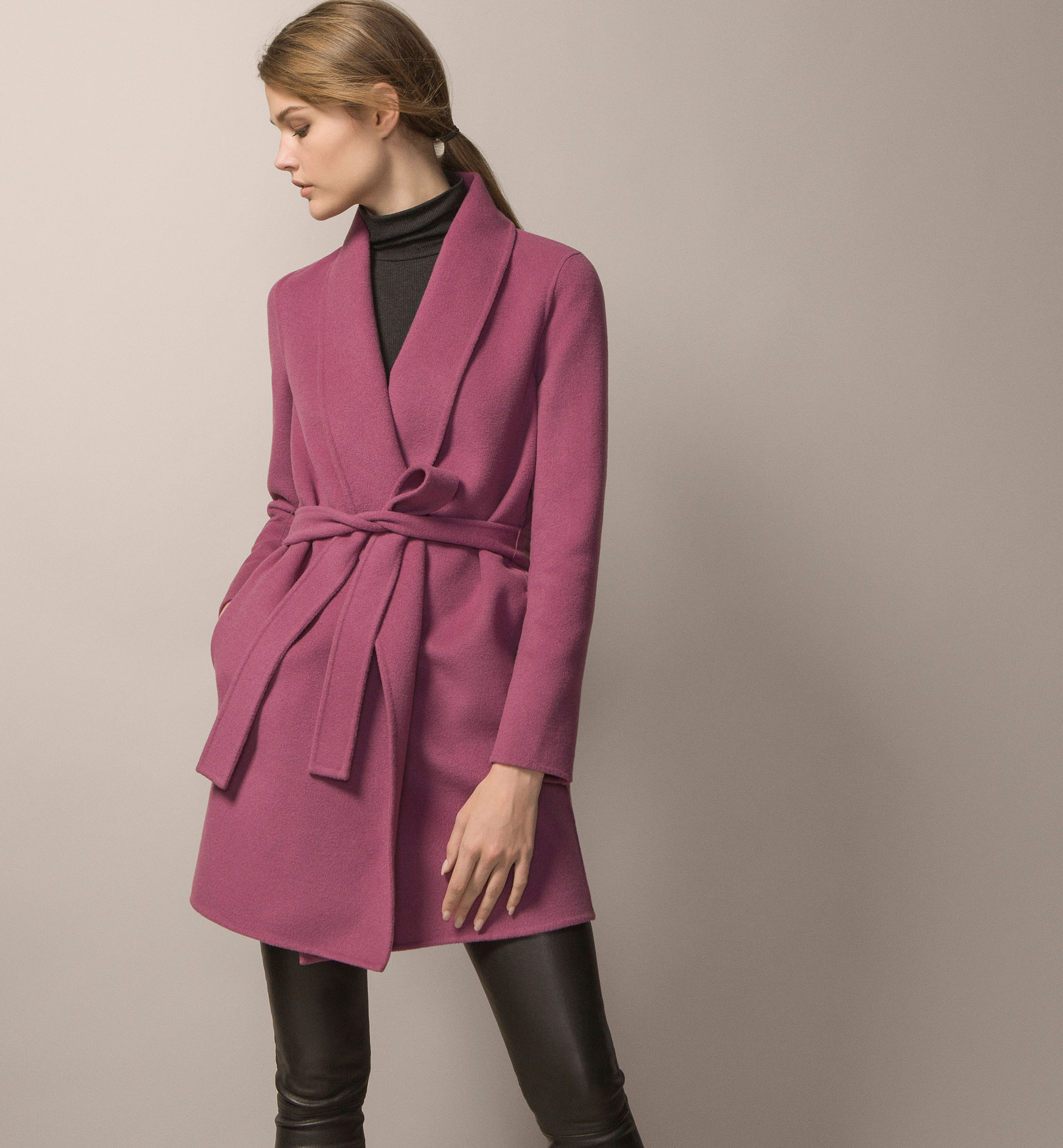 ROBE COAT WITH ROUNDED LAPEL