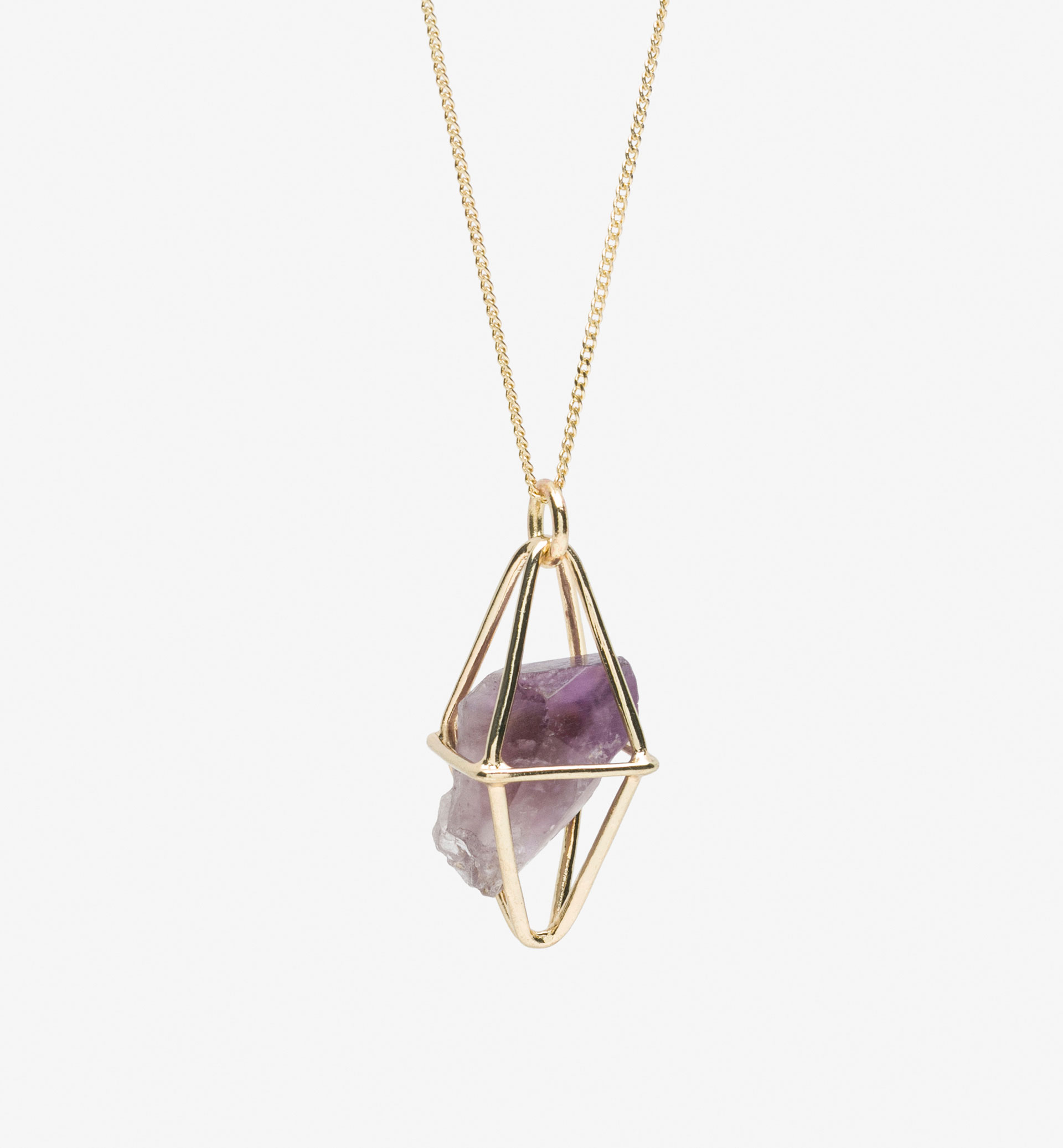 BOX AND AMETHYST DETAIL NECKLACE