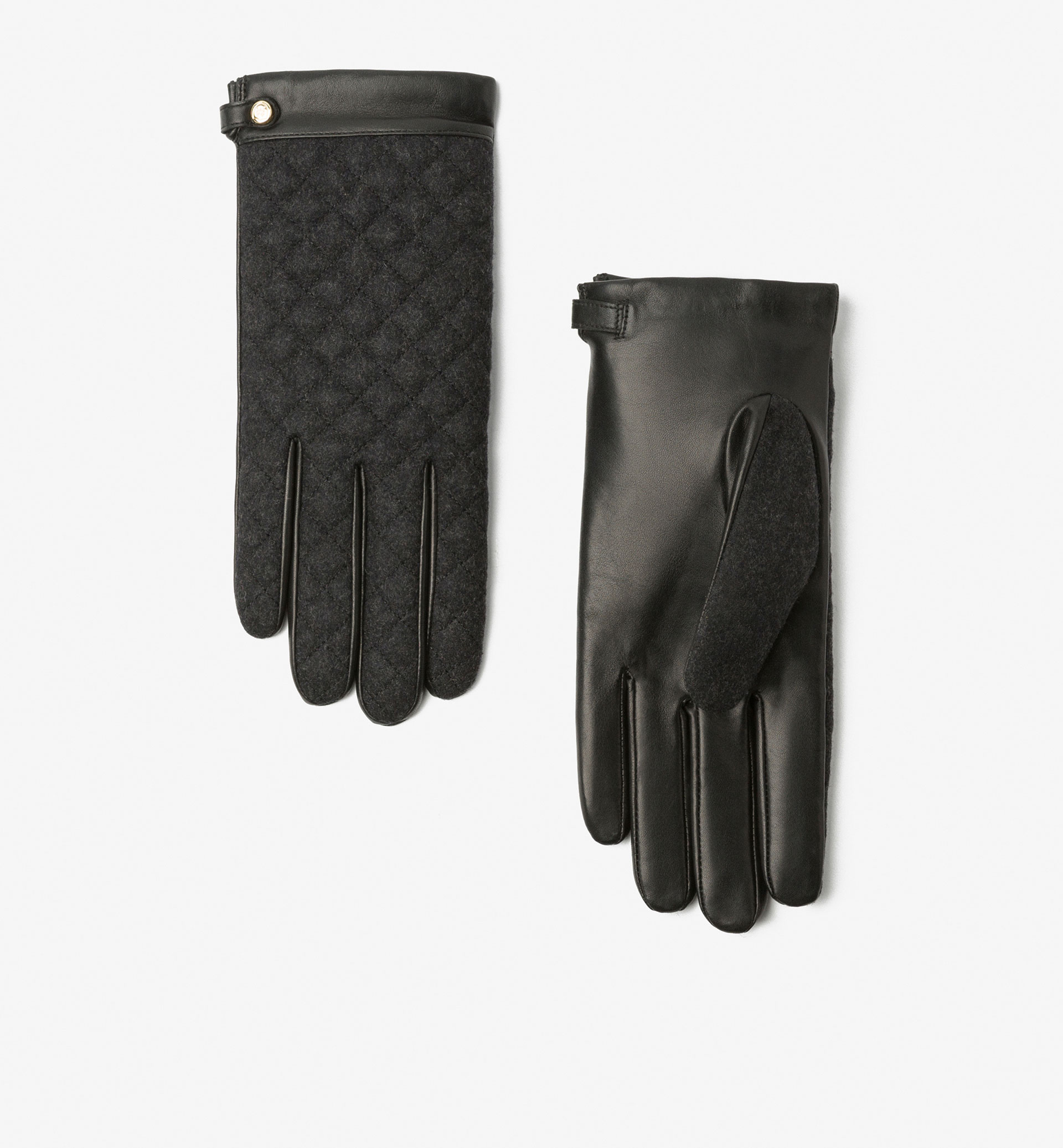 QUILTED FLANNEL CONTRAST GLOVES