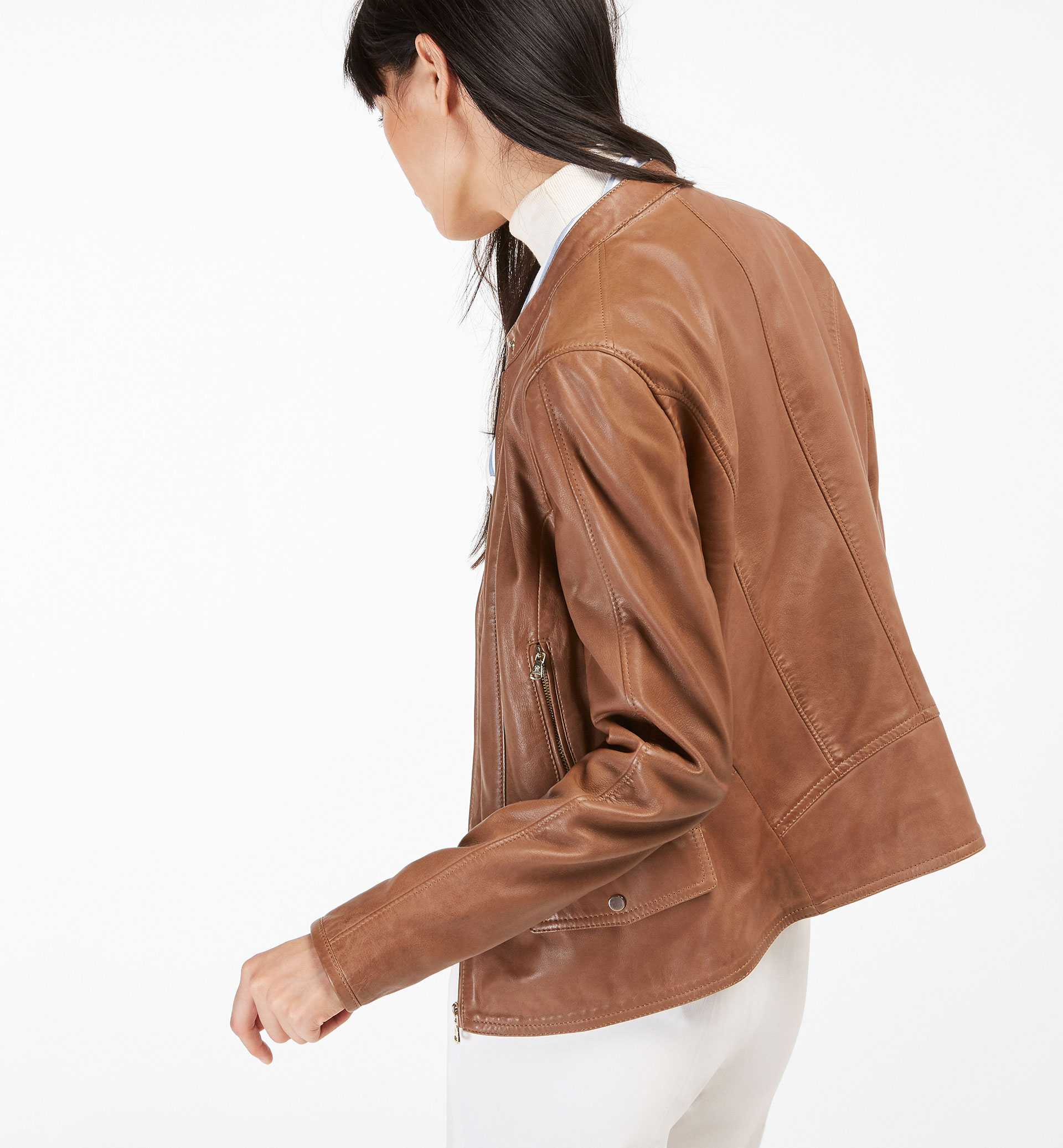CAMEL LEATHER JACKET