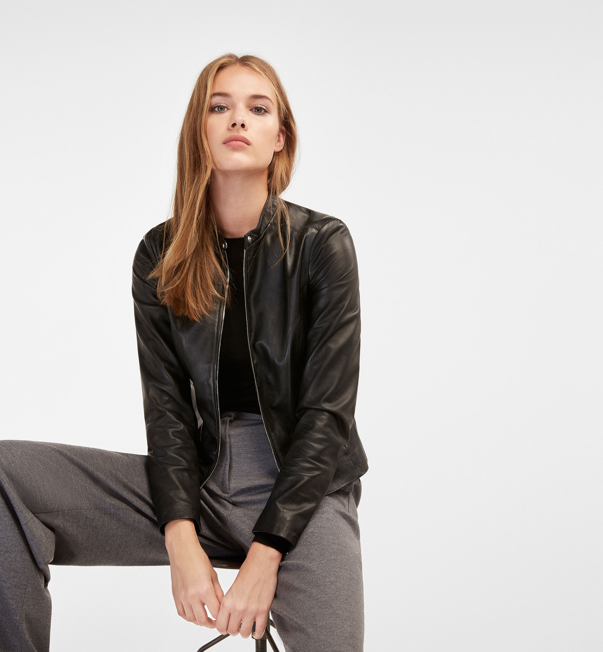 BLACK LEATHER JACKET WITH ZIP DETAIL
