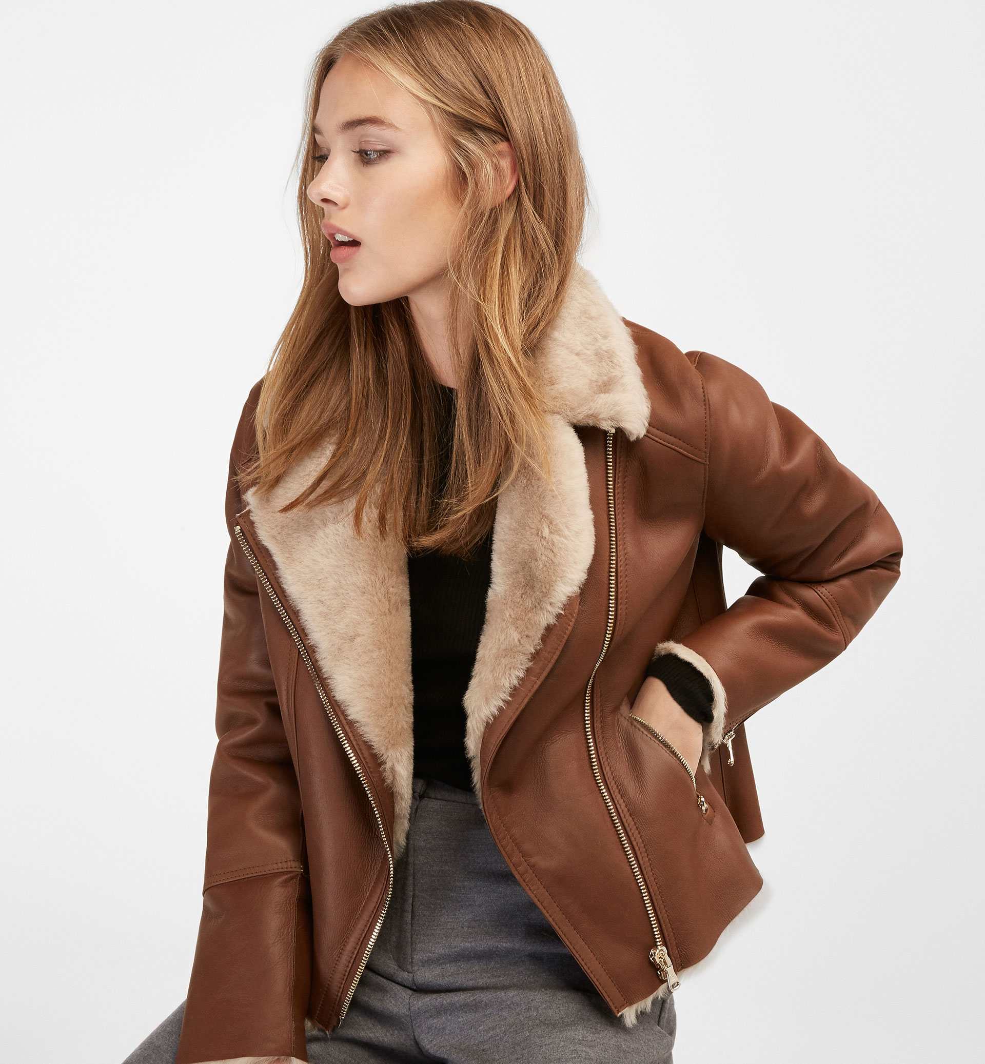 BIKER JACKET WITH FUR AND LEATHER