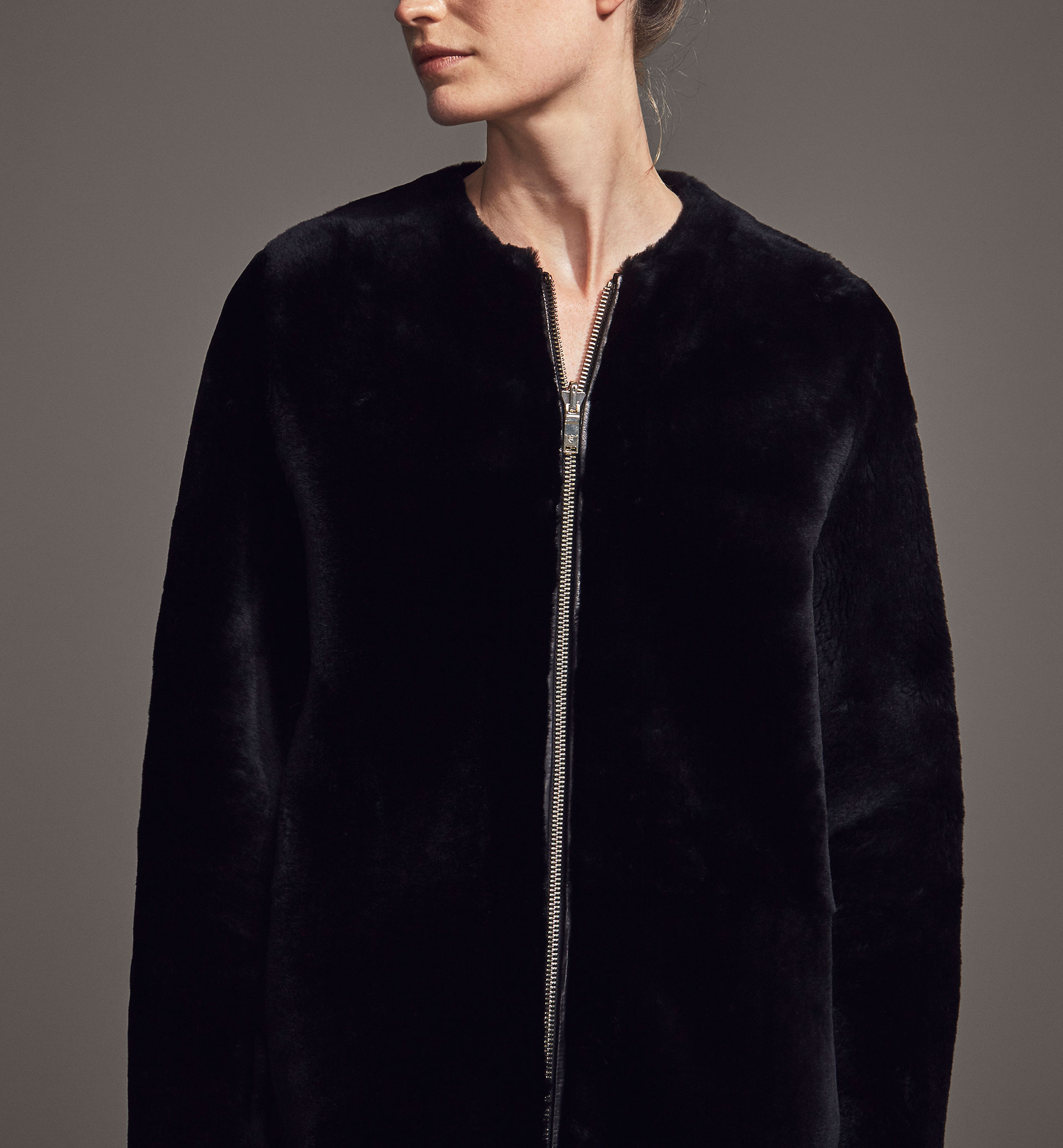 LIMITED EDITION BLACK REVERSIBLE LAMBSKIN COAT