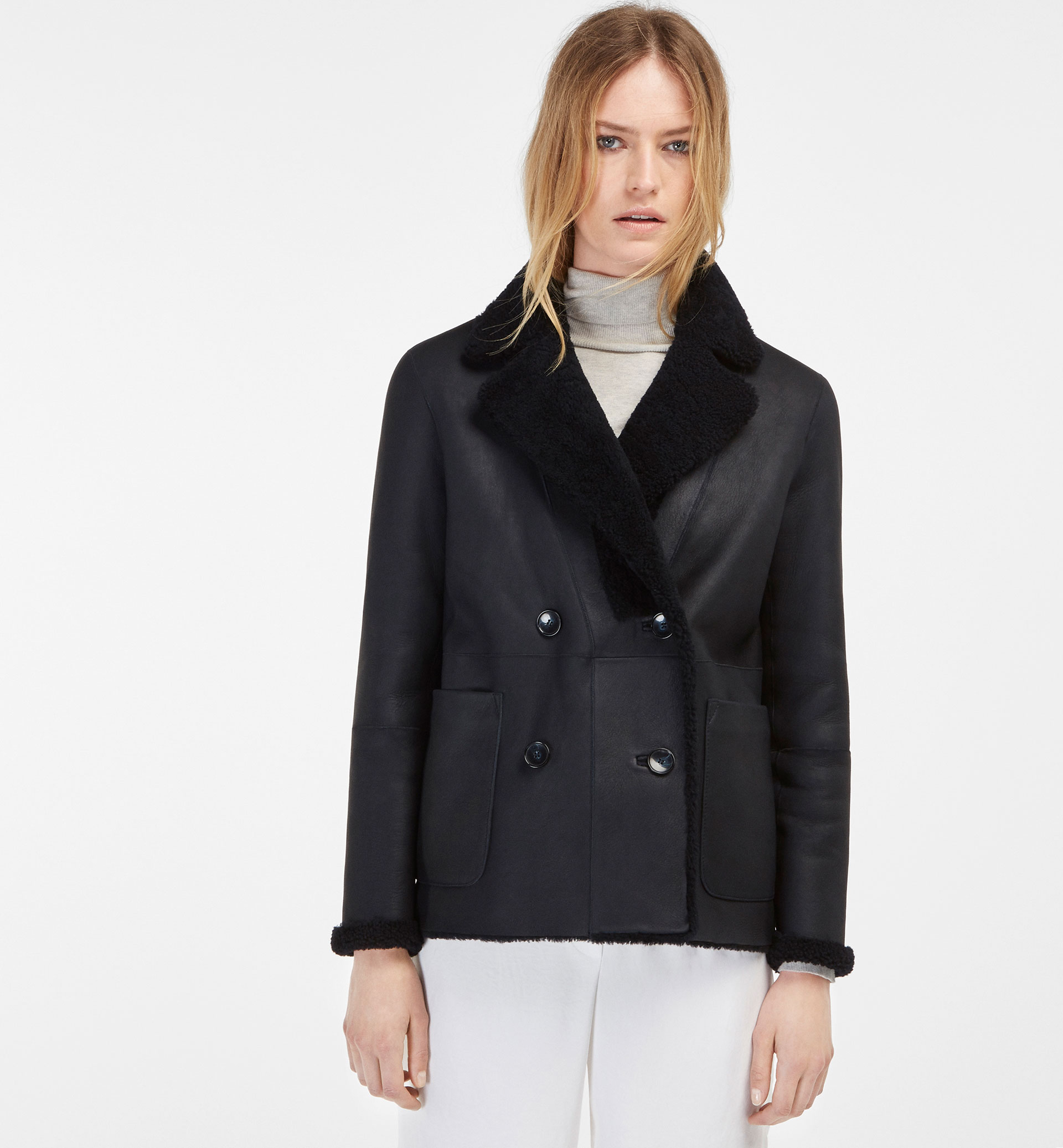 REVERSIBLE NAVY DOUBLE-SIDED 3/4 LENGTH JACKET