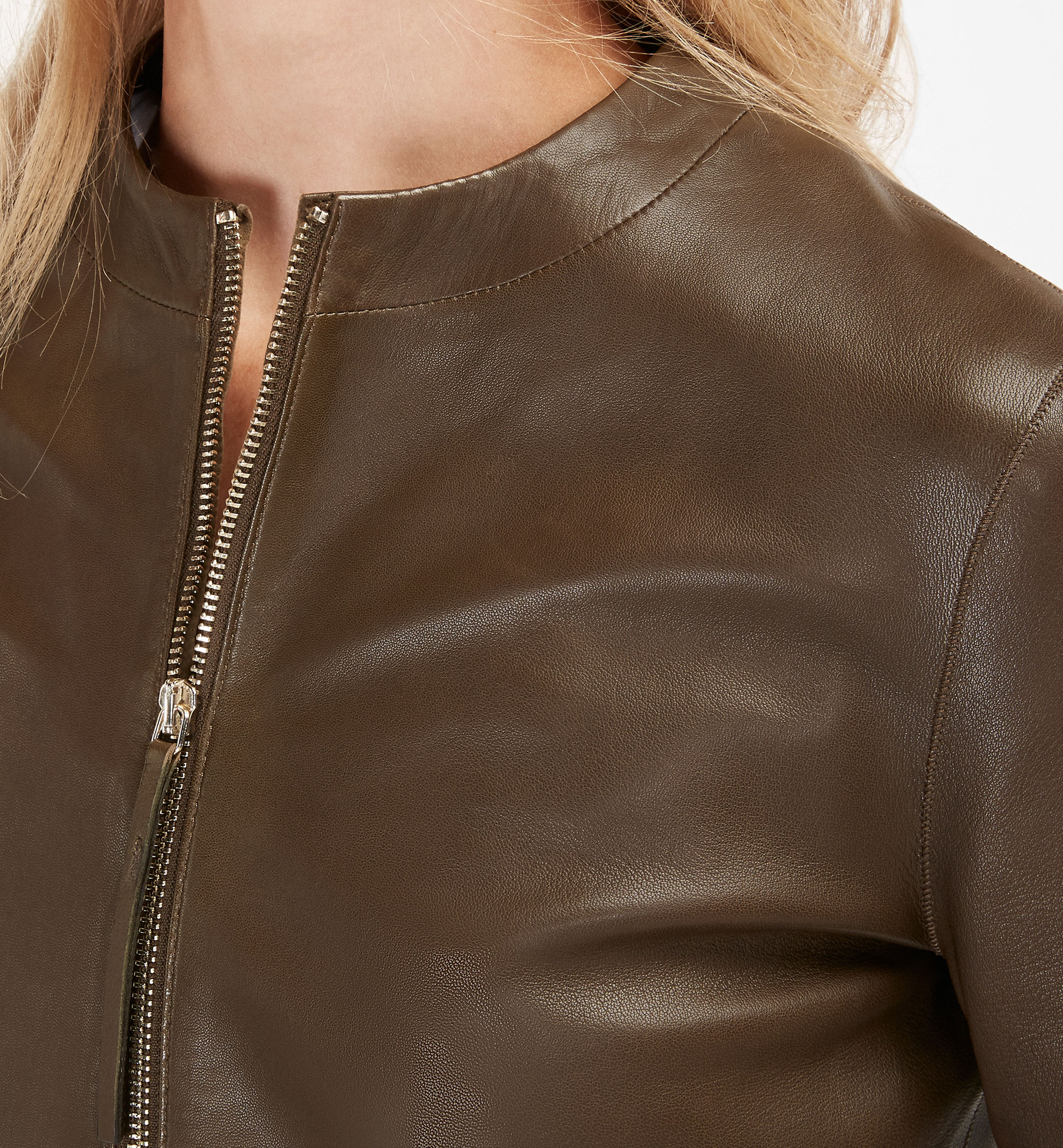 KHAKI NAPPA LEATHER JACKET