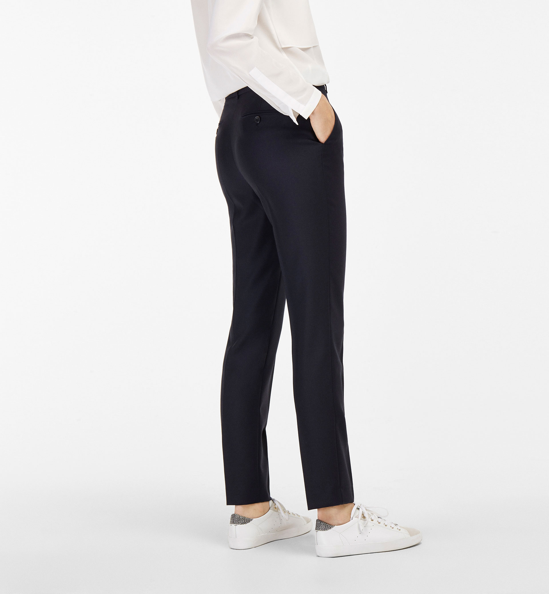PIQUÉ WOOL SUIT TROUSERS