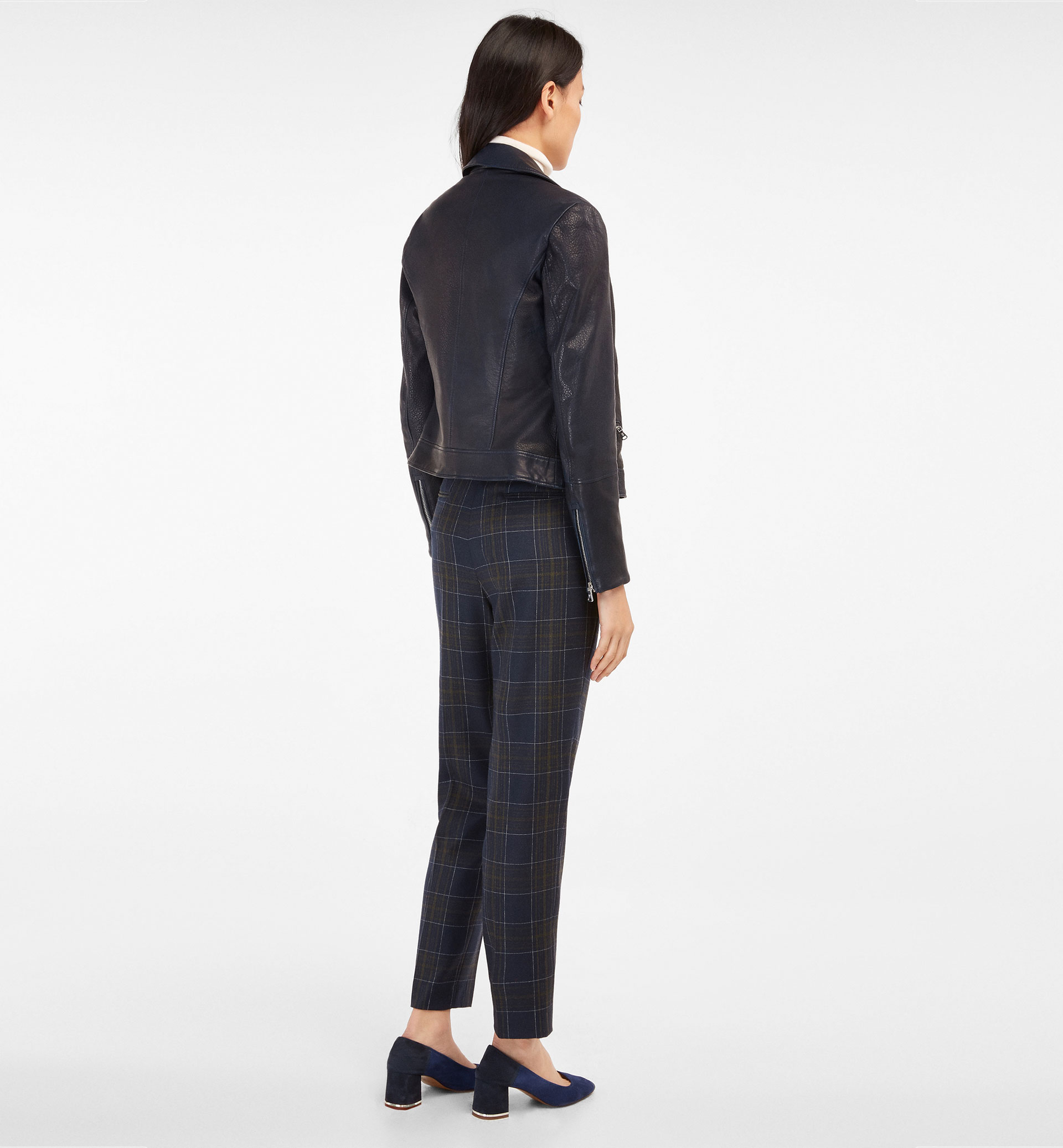 CHECKED NAVY TROUSERS