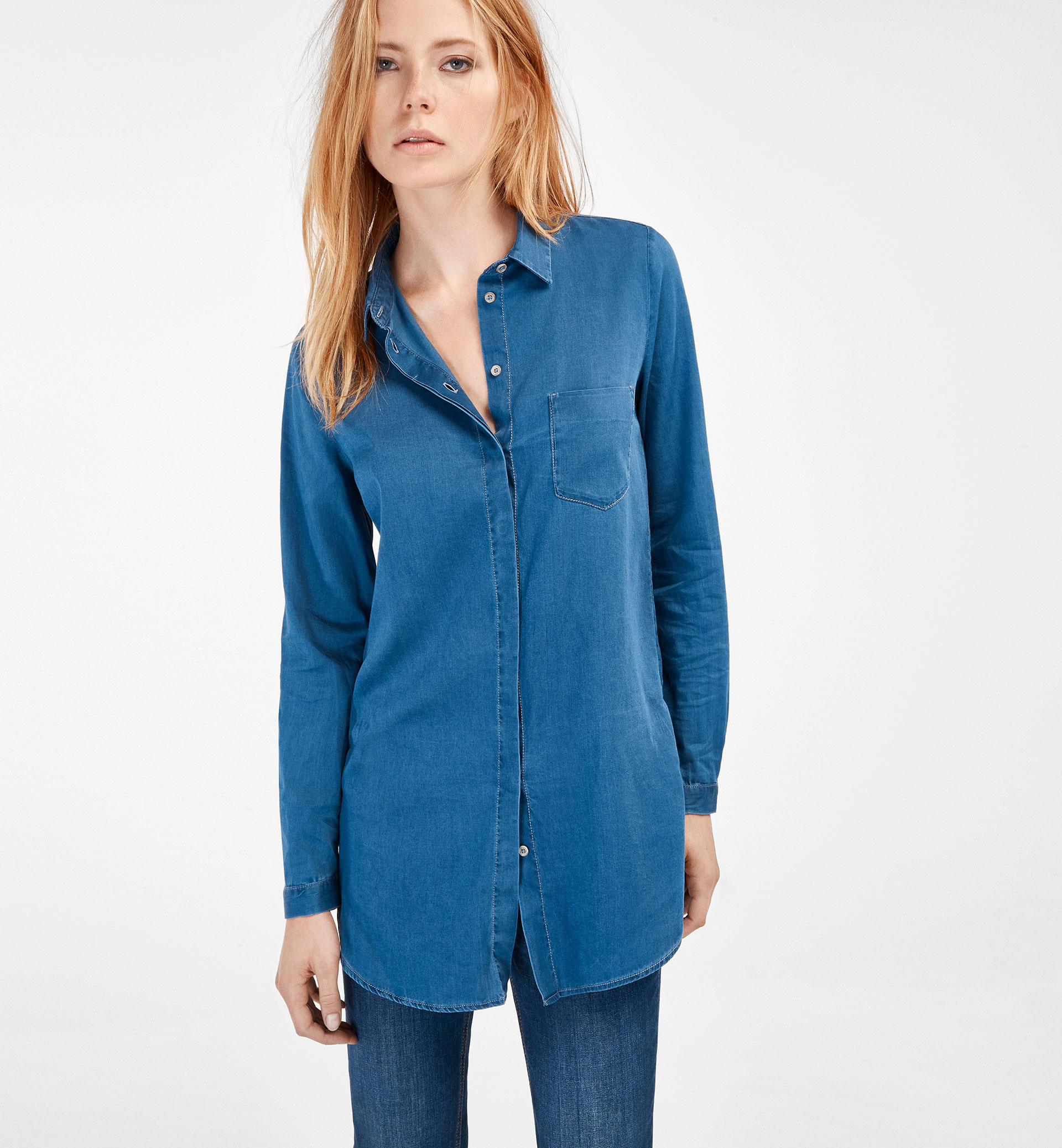 OVERSIZED INDIGO BLOUSE