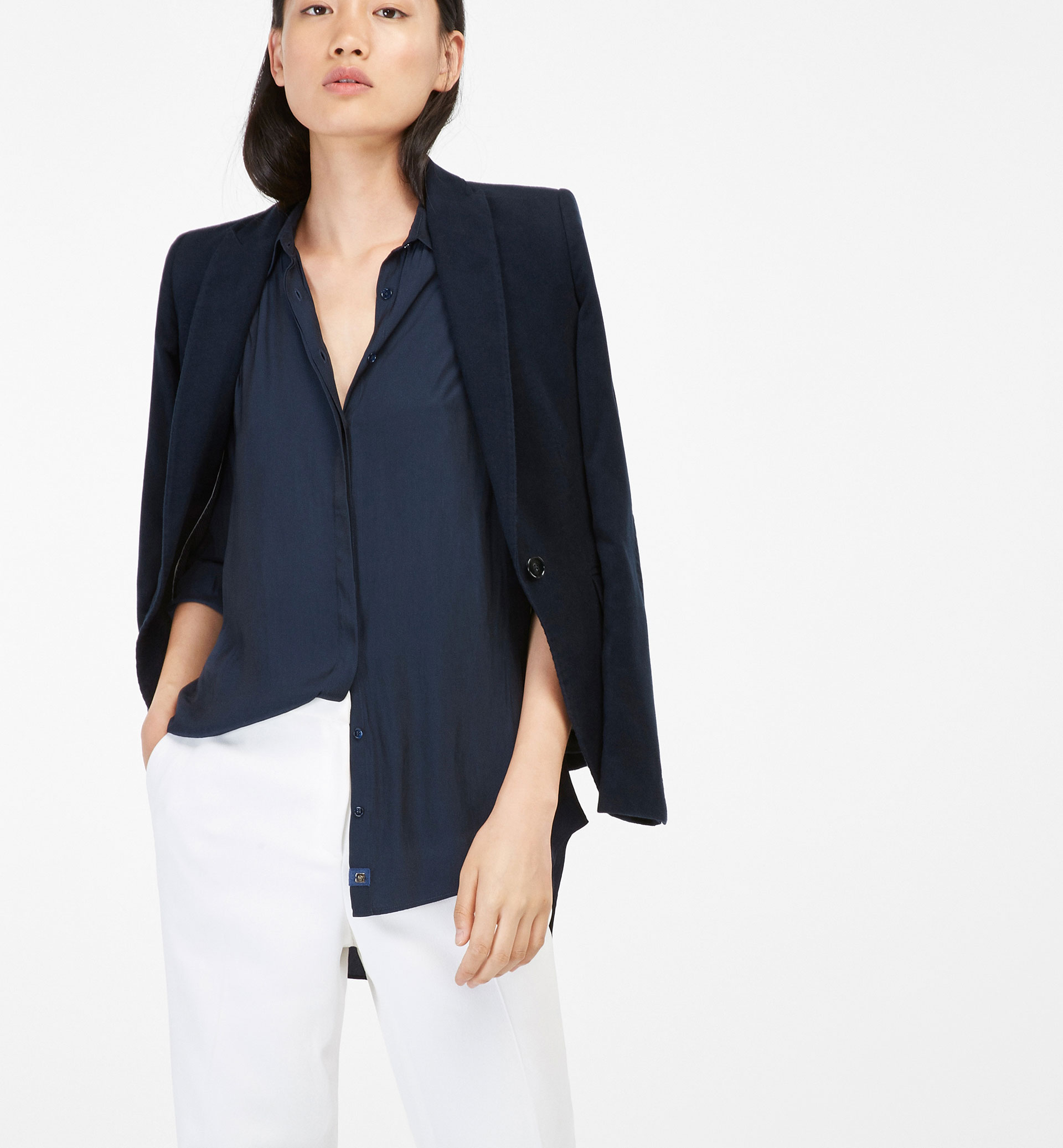 NAVY FLOWING SHIRT