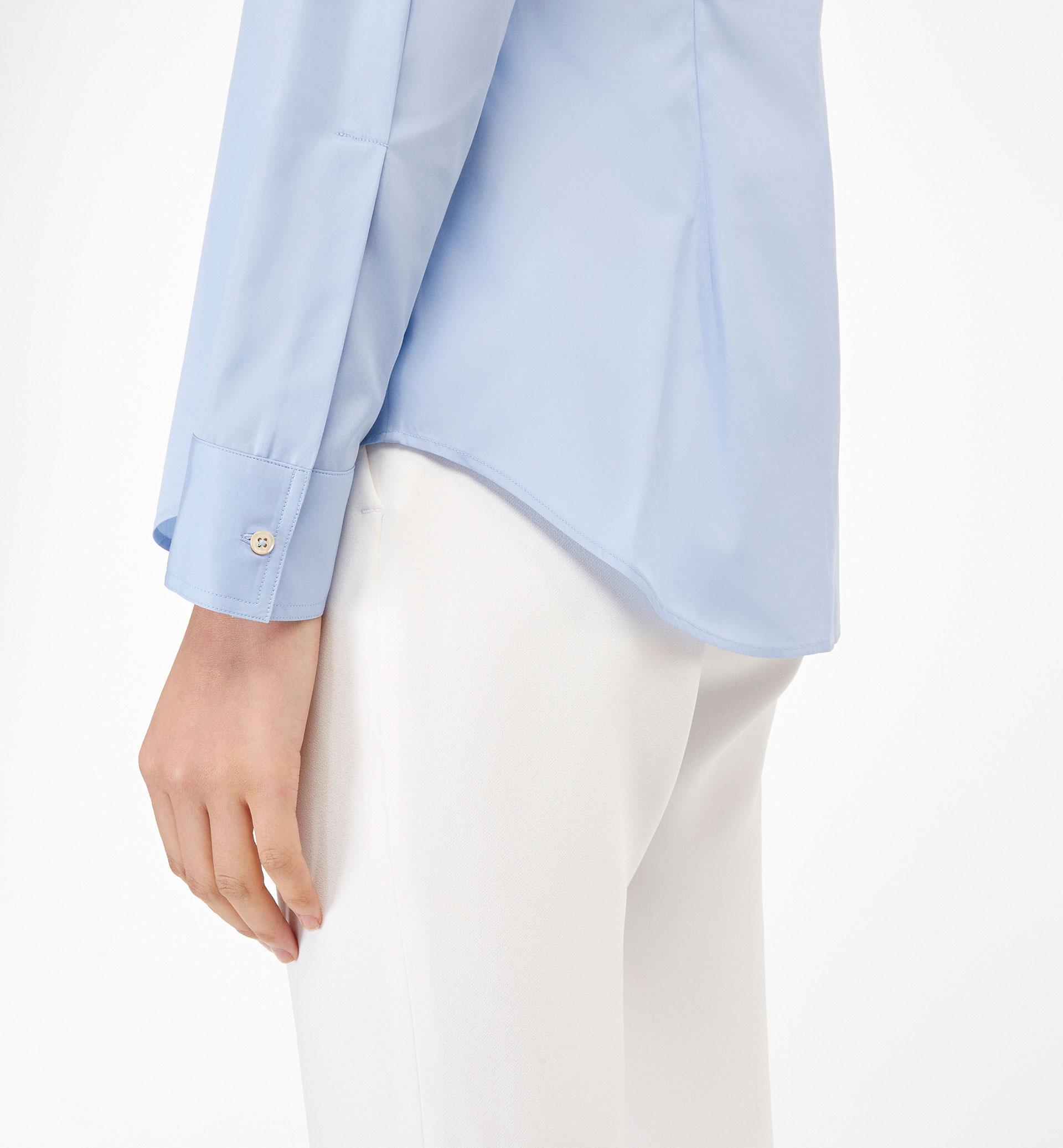 BLUE SHIRT WITH MANDARIN COLLAR
