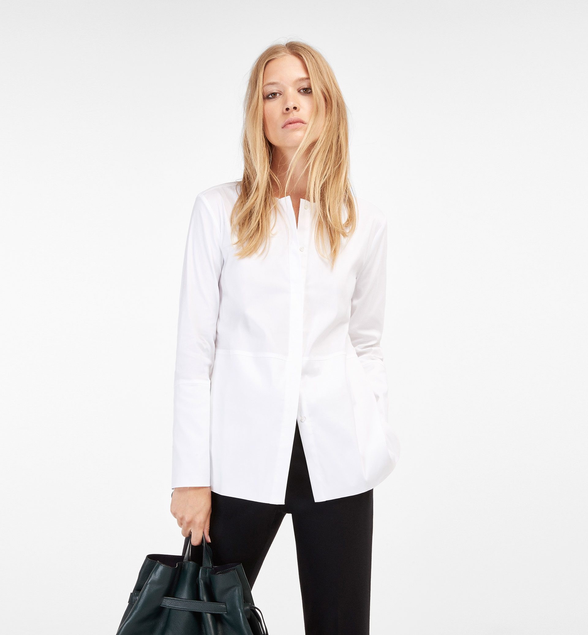 POPLIN SHIRT WITH CINCHED WAIST DETAIL