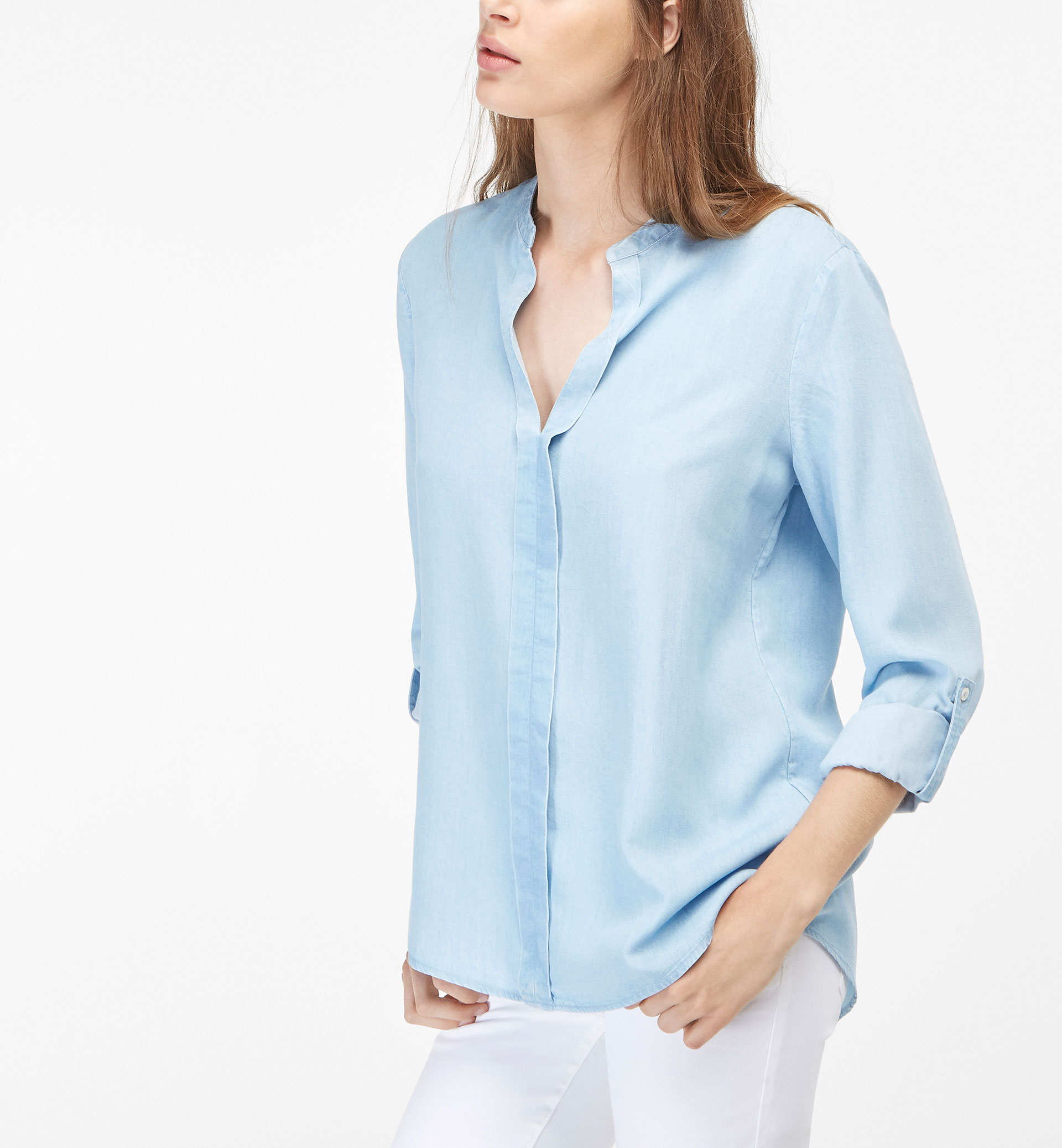 LYOCELL SHIRT WITH PLEAT DETAIL