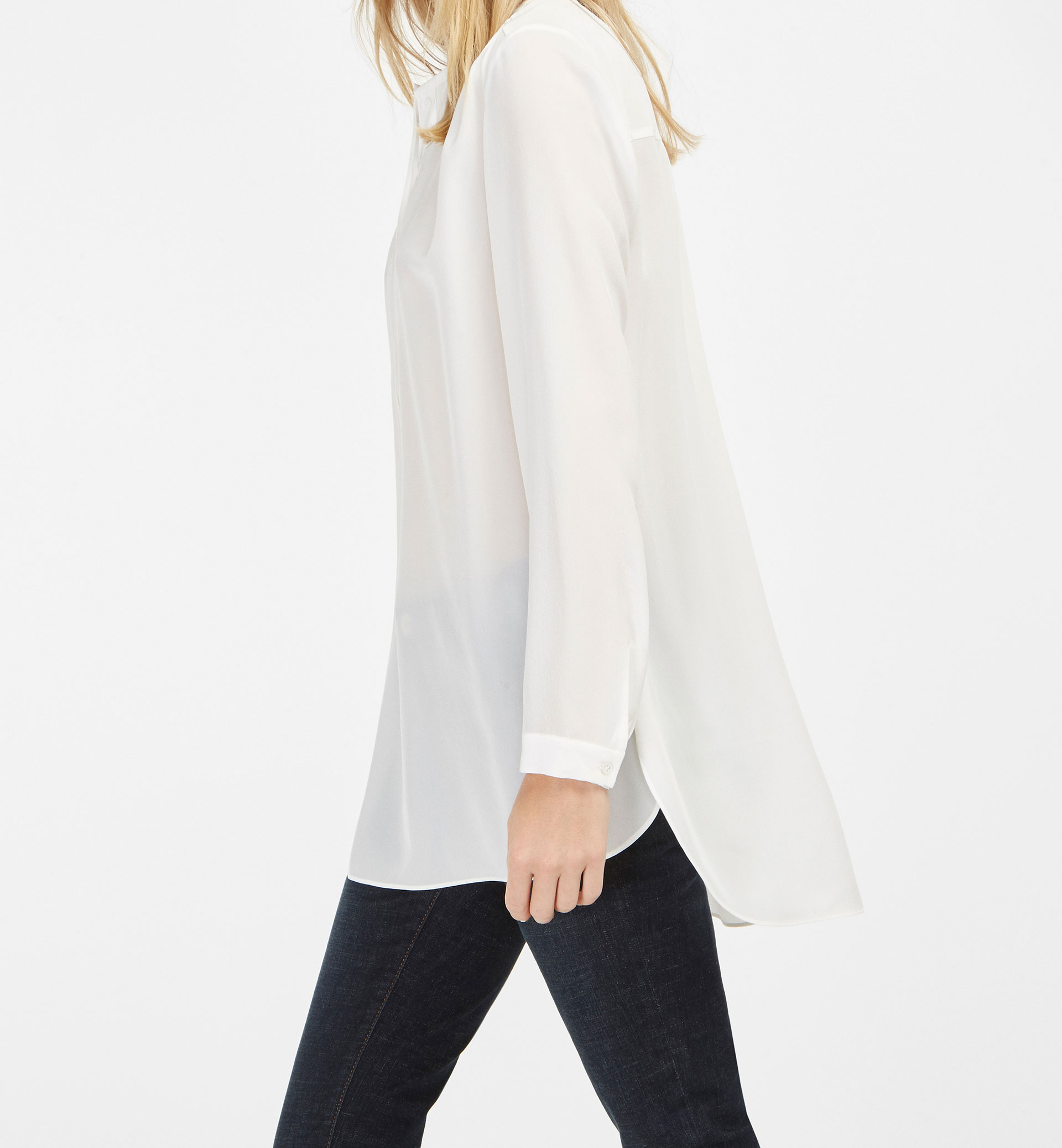 WHITE 100% SILK OVERSIZED BLOUSE