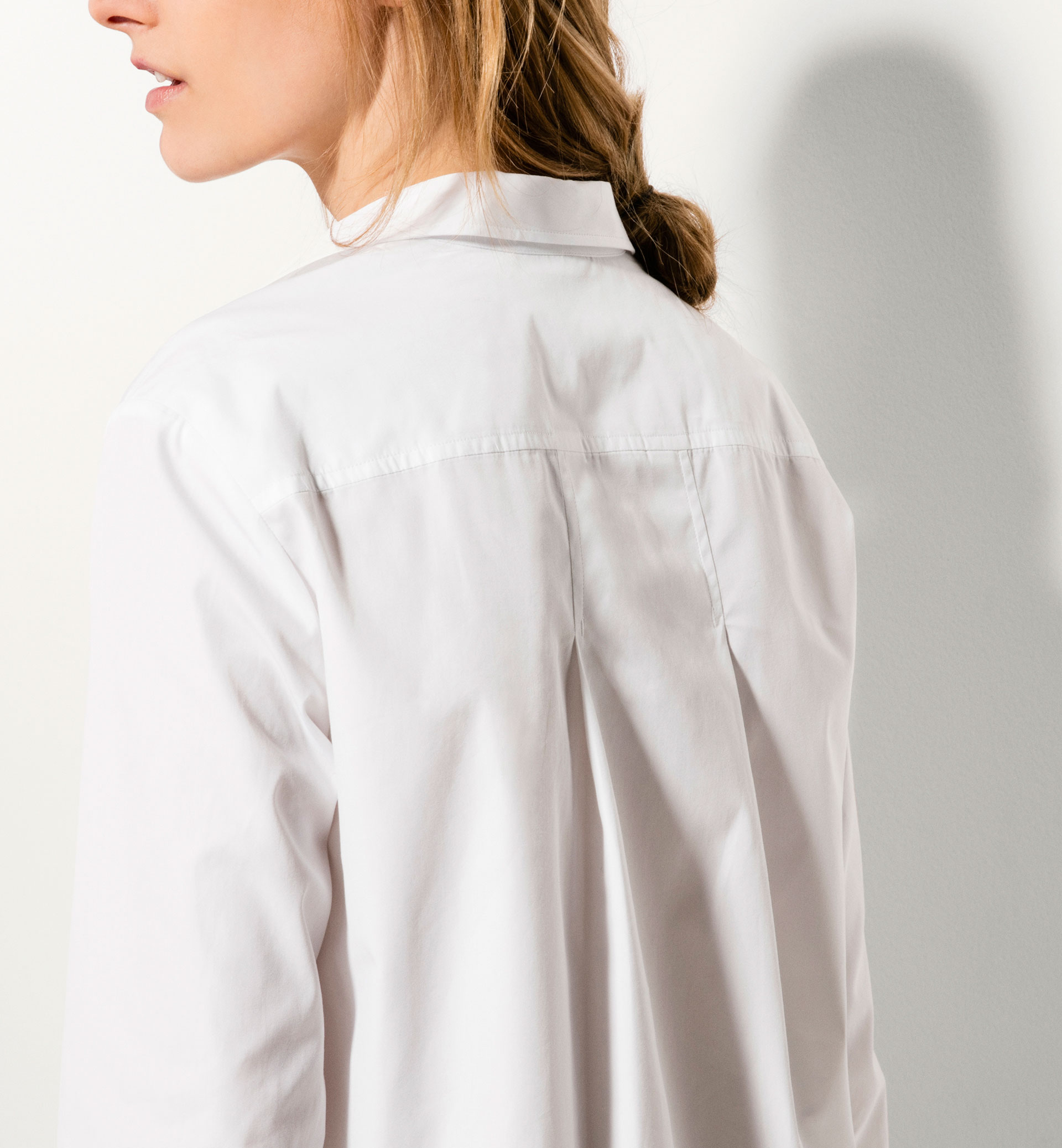 LONG WHITE POPLIN BLOUSE