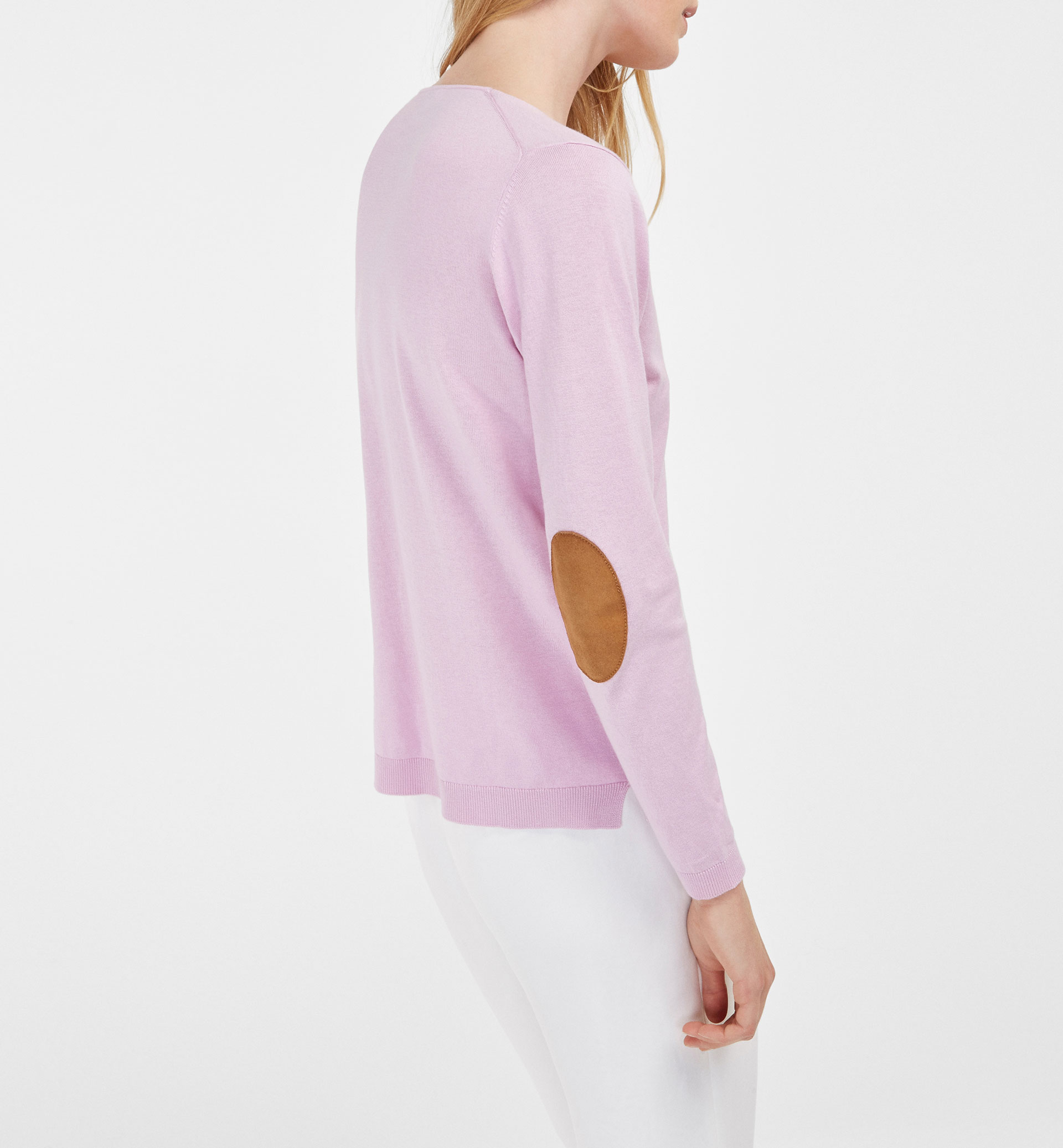 SWEATER WITH LEATHER ELBOW PATCHES